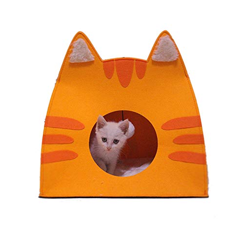 DotPet Novelty Cat Cave Bed, Foldable Cozy Comfy Wool Felt Pet Nest with Removable Plush Cushion Warm Cat Bed House for Cats Small Dogs Kitten Puppy (Saffron - Novelty Felt