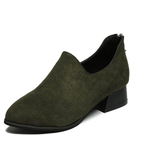 Btrada Kvinner Pekte Tå Lave Tykke Hæl Ankel Boots Glidelås Bak Korte Støvler Grønn