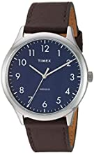 Timex Men's TW2T72000 Modern Easy Reader 40mm Brown/Silver/Blue Genuine Leather Strap Watch