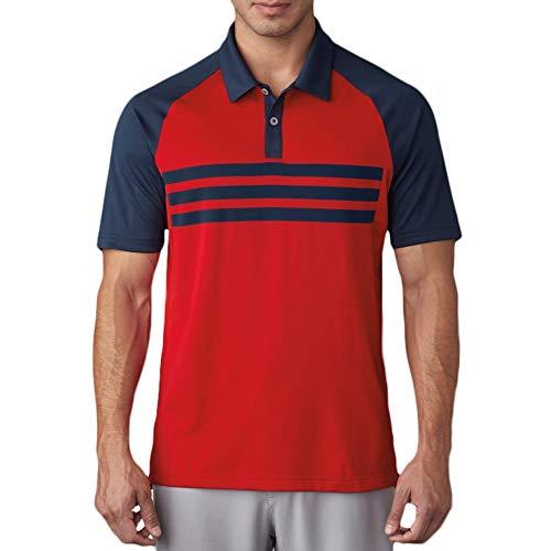 (adidas Golf Men's Climacool 3 Stripe Competition Polo, St Dark Slate Dark Slate Scarlet, Large)