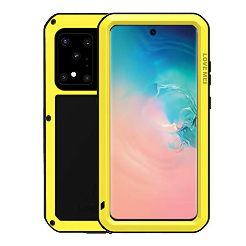 Simicoo Samsung S20 Military Metal Silicone Case Full Body Rugged Drop Protection Cover Built-in Screen Protector Heavy Duty Hybrid Shockproof Armor Impact Tough Case for Samsung S20 (Yellow)