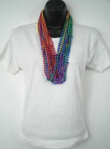 12 pack Gay Pride Rainbow Beaded Necktie Necklace Party Favor Set Rhode Island Novelty .