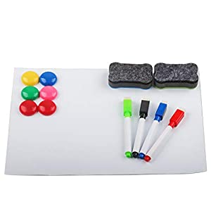 "Magnetic Dry Erase Board for Fridge -A4 12""x9"" Large -Refrigerator Whiteboard, 4 Magnetic Markers & 2 Magnetic Erasers&6 Magnetic moji- A Fridge Whiteboard Sheet for to-Do Lists & Family Notes"