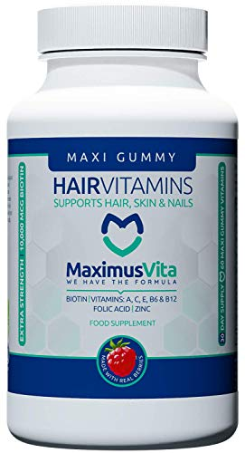 Hair Growth Vitamins for Men & Women – Chewable Hair Loss Supplements – Delicious Biotin Gummies with Berries & Zinc for…