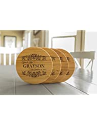 Personalized Coasters Trivets for Hot Dishes - 7inch Kitchen Wood Trivet, Personalized Wedding Gifts (Grayson Design, Set of 2)