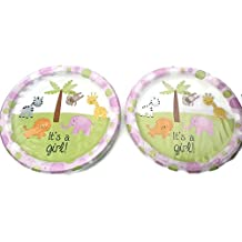 "(36) Blue ""It's A Girl!"" Baby Shower With Animal Theme Design Paper Party Plates, 8¾"""