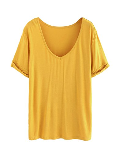 SheIn Women's Summer Short Sleeve Loose Casual Tee T-Shirt Ginger Yellow Small
