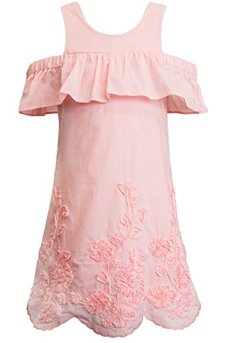 - Truly Me, Big Girls' Cold Shoulder A-line Dress with Ruffle Sleeves and Floral Embroidery, Size 7-16 (Soft Pink, 14)