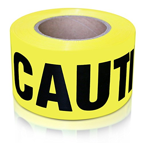 Caution Barricade Safety Tape - XFasten Caution Tape Roll, Non adhesive, 3-Inch x 1000-Foot Yellow Black Barricade Safety Tape- High Visibility for Workplace Safety