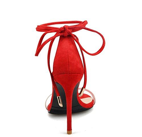 Grandi Signore Donne Scarpe Pizzo Strappy Alto 35 Metà Zpl Tacco Di Delle Alla Dimensioni Caviglia Fino Sandali Rosso 44 Legare Delle axPqv5