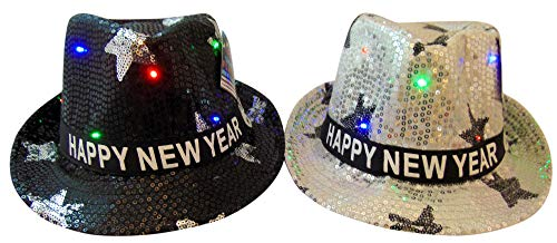 Happy New Years Flashing Light Up Fedora Hats for Him and Her, Set of 2