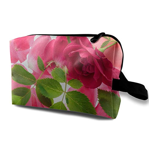 (LEIJGS Pink Roses and Foliage Small Travel Toiletry Bag Super Light Toiletry Organizer for Overnight Trip Bag)