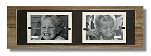 Beach Frames Rustic Reclaimed Wood 2″ – 4″ x 6″ Double Picture Holding Frame Backboards, Brown/Cream For Sale
