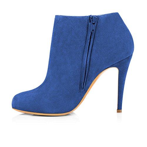 High Ankle Office Fashion Size Heels Zipper Suede Boots Blue Side 4 US Faux Toe Almond Women FSJ 15 Shoes HwIfq7IE