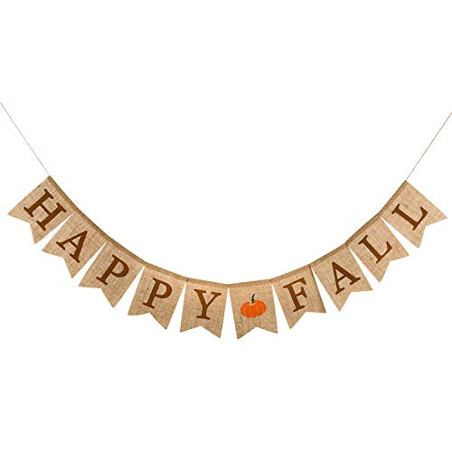 Whaline Happy Fall Pumpkin Burlap Banner Harvest Home Decor Bunting Flag Garland Party Thanksgiving Day Decoration (Party Outdoor Fall)