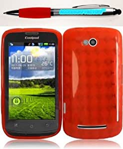 Bloutina Accessory Factory(TM) Bundle (the item, 2in1 Stylus Point Pen) For Coolpad Quattro 4G 5860E TPU Cover Case - Red...