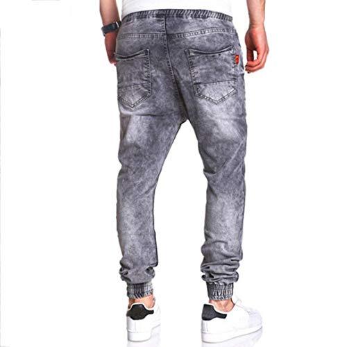 In Ad Taglio Vintage Uomo Fami Elastico Lavato Casual Grigio Con Da Slim Denim Jeans UXFqf