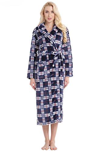 Aibrou Larga Felpa Franela Pijama de Mujer, Suave Alta Calidad Bata de Coral Vellón, Ideal Housecoat para Spa,Casa, Baño. Azul Cuadro