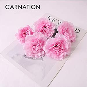 2DXuixsh Artificial Flowers Fake Silk Carnations - Bridal Bouquet Mother's Day Birthday Weddings Anniversary Party Home Garden Decor 6Pcs 35