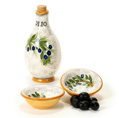RUSTICA: Oil Cruet and two Dipping bowls (2.5 Diam. ) [#1904/SET-RUS] by RUSTICA Collection
