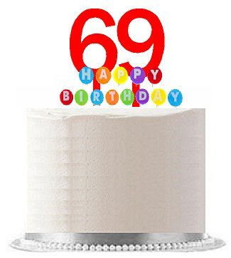 Price comparison product image Item 069WCD - Happy 69th Birthday Party Red Cake Topper & Rainbow Candle Stand Elegant Cake Decoration Topper Kit