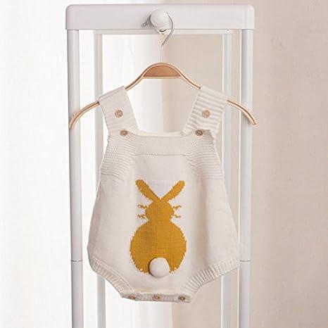 Zooarts recién Nacido bebé niñas Conejo de una Pieza de Punto Halter Body De Bebé Pelele