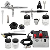 WST 0.3mm 0.35mm 0.8mm 3-Airbrush Kit Dual Single Action with Air Compressor for Hobby Cake Decoration , 110v