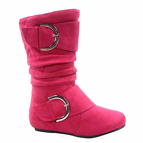 Lucky Top Youth Kid's Girl's Mid-calf Flat Slouch Zipper Boots (2, Fuchsia)