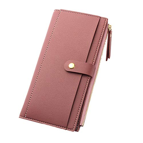 Lady Women Leather Tri-fold Wallet Zipper Clutch Card Holder Purse Lady Handbag (Color - Rose Red)