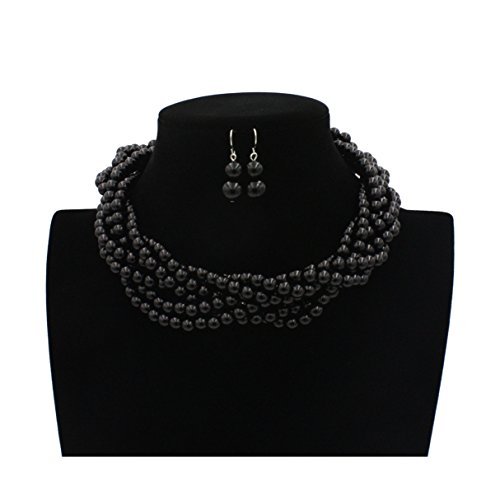 Lanue Multilayer Strand Faux Pearls Beads Cluster Choker Necklace and Earrings Set (Black)