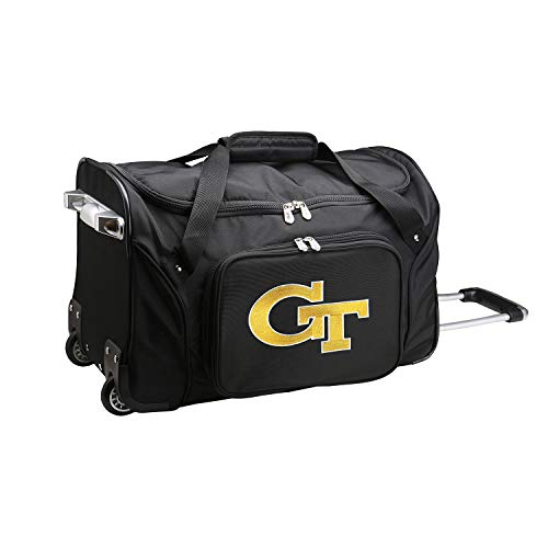 NCAA Georgia Tech Yellow Jackets Wheeled Duffle Bag, 22 x 12 x 5.5, Black