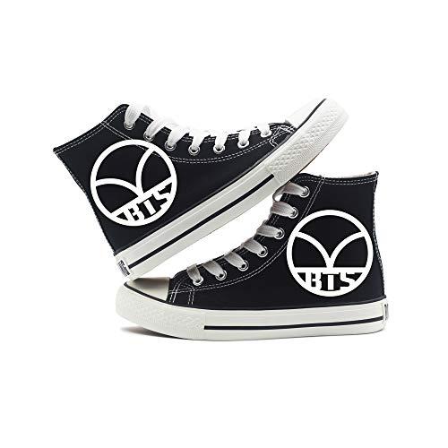 Pour Ultra Mode Et Léger Bts À Lacets Femmes respirant Espadrilles Chaussures Baskets Décontractée Toile Hautes Black3 Hommes wF78g