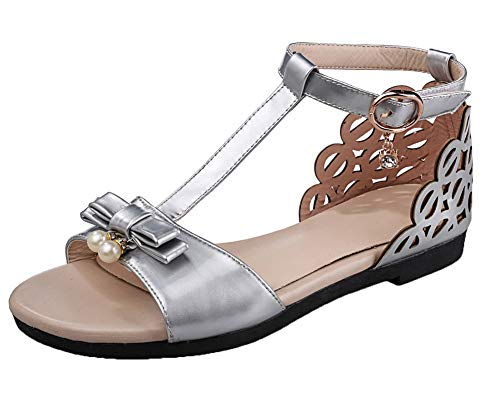 Open Sandals Solid Heels PU Low Loop Silver VogueZone009 Toe Women's Hook and vwa7I8q