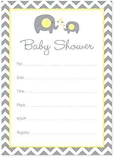 Amazon 48 grey yellow elephant bring a book baby shower card 24 cnt yellow elephant baby shower fill in invitations filmwisefo