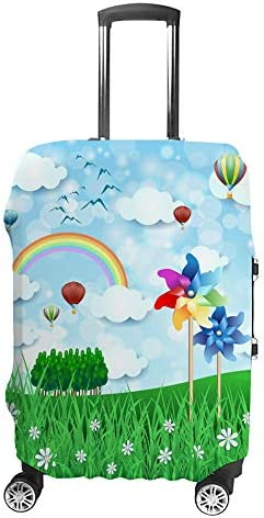 スーツケースカバー トラベルケース 荷物カバー 弾性素材 傷を防ぐ ほこりや汚れを防ぐ 個性 出張 男性と女性風車と熱気球のある春の風景