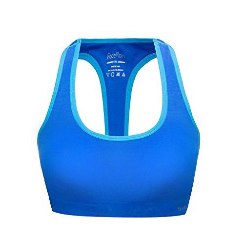 FaceRain Women's Workout Sports Bra Removeable Pads Raceback Medium Support Yoga Bras