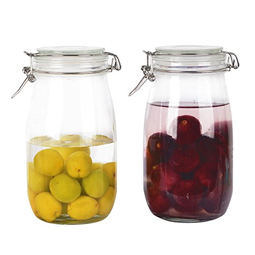 oz Clear Airtight Glass Jars with Hinged Lid and Leak Proof Rubber Gasket for Home and Kitchen.Sturdy and Perfect Container for Herbs,Spices,nut,cookie,candy,beans. ()