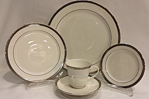 Pickard China High Point Platinum 5 Piece Place Setting (Dinner, Salad Plate, Bread Plate, Tea Cup & Tea Saucer)