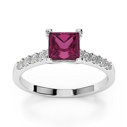 Or blanc 18carats 1CT G-H/VS Certifié Rubis et diamants taille princesse Bague de fiançailles Agdr-1210