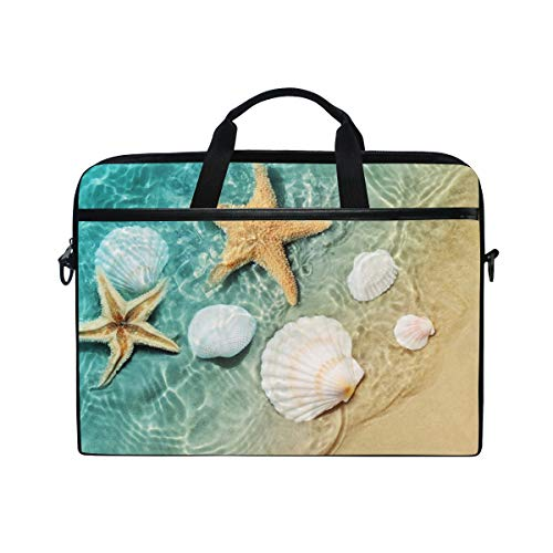 TFONE Ocean Sea Beach Starfish Seashell Laptop Bag Case Sleeve Briefcase Waterproof Shoulder with Strap for Ultrabook Notebook 13 Inch-14.5 Inch