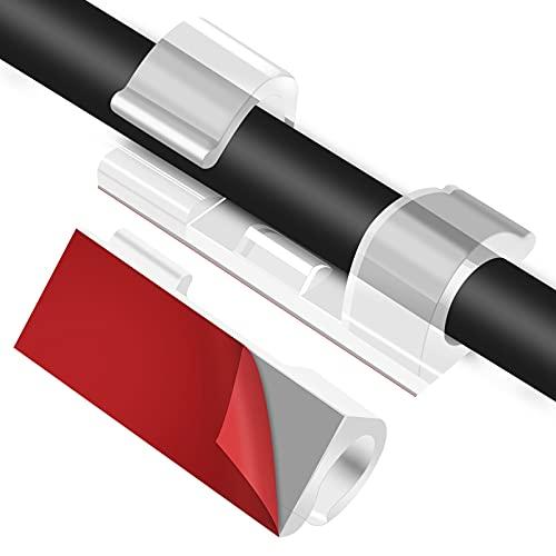 URAQT Kabelklemmen, 30 stuks Transparant Zelfklevend Kabelklemmen, Kabelhouders met Lijm voor Kabeldiameters Binnen 7 mm…