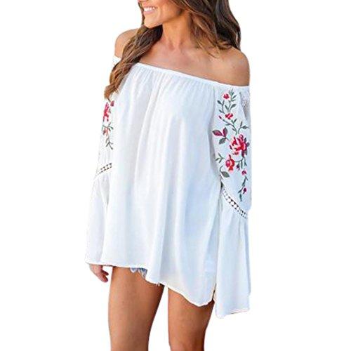 Floral VasEs Encolure Off Shoulder Sexy Manches Loose Et Top Avec OverDose Bardot Blanc Printed Fleurs Blouse Femme fqz7S7
