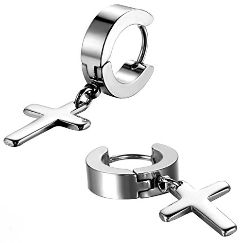 (Cupimatch 3-6 Pairs Stainless Steel Cross Dangle Huggie Hinged Hoop Earrings for Men Women (1 Pair Silver Cross))
