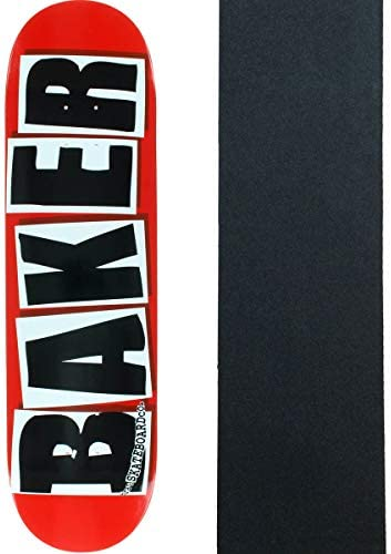 "FREE GRIP BRAND LOGO BAKER 8.00/"" INCH BLACK WHITE PRO SKATEBOARD DECK"