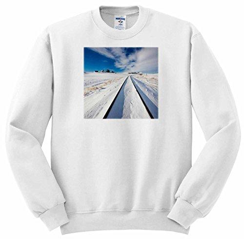 Danita Delimont - Washington - Washington State, Pullman, Railroad tracks running through the snow - Sweatshirts - Adult SweatShirt Medium - Running Through Snow