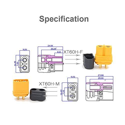 MCIGICM 10 Pair XT60H (XT60 Upgrade) Male Female Bullet Connectors Power Plugs