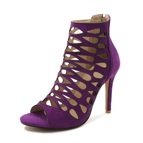 JUWOJIA Mujeres Sandalias De Tacón Alto Super Delgada Zipper Hueco Zapatos De Verano Violeta