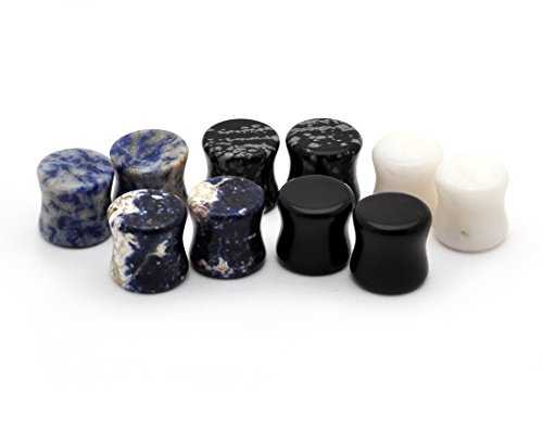 Double Flare Organic Plugs - Mystic Metals Body Jewelry Set of 5 Pairs Double Flare Stone Plugs - Black Agate, White Jade, Snowflake Obsidian, Blue Lapis, Sodalite (6g (4mm))