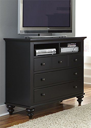 Liberty Furniture Hamilton III Bedroom 5-Drawer Media Chest, Black Finish - Arched Crown Headboard