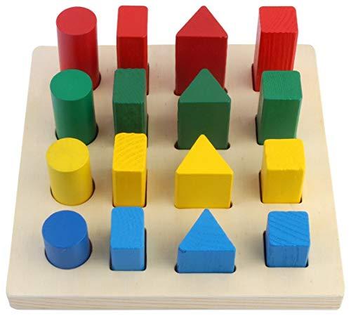 AmigozZ Geometry Shape Sorter Blocks Wooden Toys for Kids Ages 3+ Years (B07RF7F815) Amazon Price History, Amazon Price Tracker